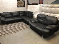 Amazing black leather corner sofa + 2 seater