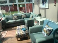 Corner Sofa Bed with Chair footstool and Pillows