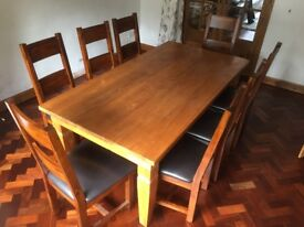 Oak dining table with 8 chairs for sale