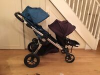City Jogger double pushchair, baby basinette and foot board