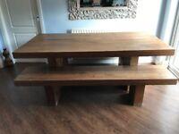 Barker & Stonehouse Mondo Walnut Large Dining Table & 2 Benches. Seats 8