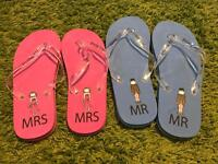 "Never worn ""Mr & Mrs"" matching wedding flip flops"