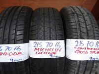 BRAND NEW 215 70 16 TYRES CAME OFF SPARE WHEELS MICH/CONTI/HANKOOK £40 EACH SUPP & FITTED }