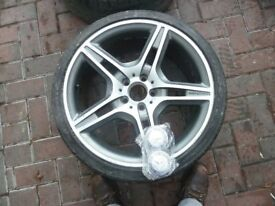 "MERCEDES BENZ 19"" AMG ALLOY WHEELS TYRE 235/35/R19 SILVER GREY PROJECT REFURB SET ALLOYS VW SKODA"