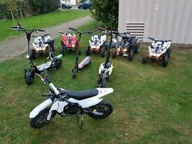 SCOOTERS, KIDS MOTORBIKE AND ELECTRIC QUADS FROM £80