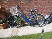 ladies raleigh reflex blue and silver 19 inch frame bike with basket and lock