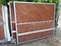 Pair of large heavy duty galvanised metal framed gates plus matching pedestrian gate.