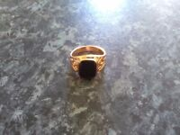 Rose gold plated black onyx ring