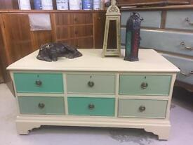Shabby chic style painted TV Unit with drawers & storage