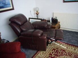 1 year old brown leather riser and recliner armchair