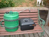 Water container with handle and waste water container