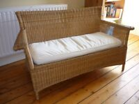 Wicker sofa with removable, washable seat cushion cover, comfortable 2 seater , good condition. £30
