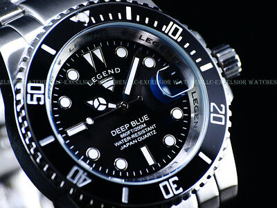 NEW Legend Mens 200m Deep Blue Diver Midnight Black Dial Miyota Quartz SS Watch  Deep Diver Silver Dial