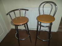 Chrome high bar stools, two of, mint condition, different back rests,& seat heights,