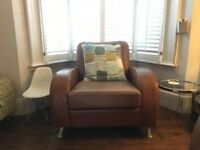 'Vintage' tan leather armchair (and sofa) for sale