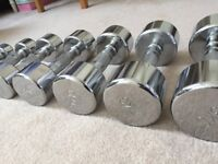 1-10Kg Chrome Dumbbell Weight Set (10 pairs)