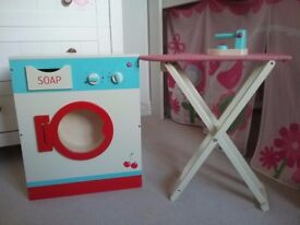 Toy Wooden Washing Machine and Ironing Board. Immaculate Condition.