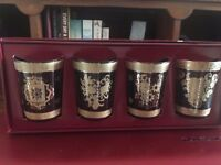 Set of red and white tea candle holders
