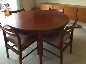 Extending Teak Dining Table and 4 Chairs