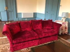 2x Laura Ashley Langham grande sofas in Cranberry velvet