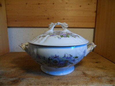 alte sehr schöne Suppenterrine Suppenschüssel Blumendekor