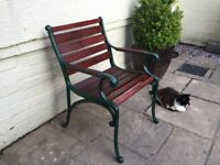 One Traditional Style Garden Seat Wrought Iron Fittings