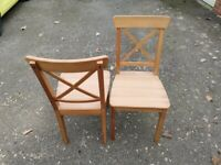 2 IKEA INGOLF Solid Pine Chairs FREE DELIVERY 4051