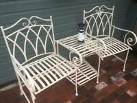 NEW IN BOX - Vintage Effect White Love Chairs