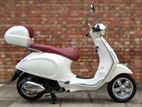 Vespa Primavera 125cc (65 REG) White, Immaculate condition with only 9 miles!