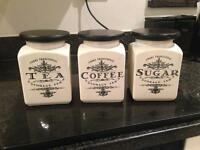 Set Of 3 Storage Tea Coffee Sugar Jars