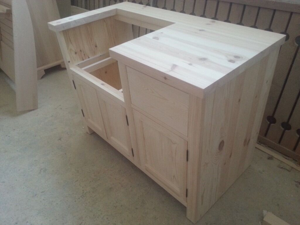 Solid Pine Belfast Sink Kitchen Unit for 600mm width Belfast sink ...