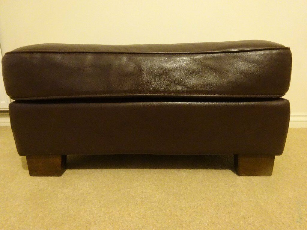 Chocolate brown real leather foot stool