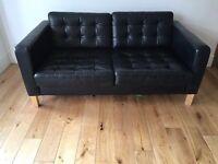 IKEA black leather 2 seater sofa