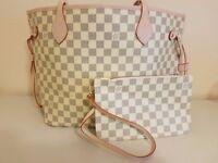 New Style Large Cream Louis Vuitton Bag PLUS Clutch Purse