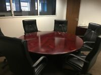 Mahogany Board Room Set with Round Table, Chairs and Unit
