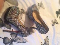 Black glitzy shoes size 6 brand new