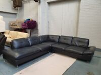 Beautiful Large Black leather Corner sofa + Free Delivery