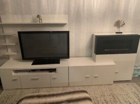 White tv and fire unit