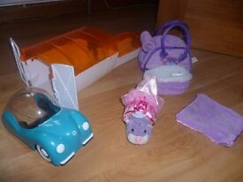 Zhu Zhu purple pet, outfit, bed, carry bag and car, garage & fun house