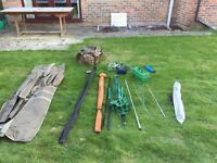 Fishing set including three rods with reels, stands, tackle box, carp matt, carry bags, Umbrella