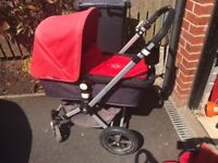 Bugaboo chameleon red and grey pram/pushchair