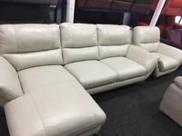 New/Ex Display Palmero Leather Corner Sofa With Chaise + Chair