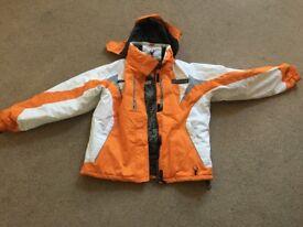 Brand new winter parka. Spyder brand. Orange and white. Medium size.