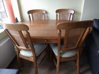 Solid Oak dining table with four solid Oak chairs