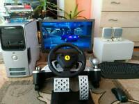 "Gaming PC with 24"" HD TV + steering wheel + wireless keyboard, mouse, 2.1 speakers set"