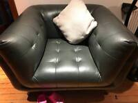 Sofa, chair and footstool