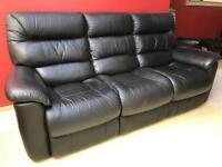 """Black leather """"Lazy Boy"""" sofa"""