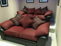 Reuben dfs 3 and 4 seater sofas red/brown