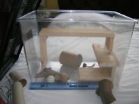 Plastic tank for hamsters, mice etc, with accessories and new wooden shelving to increase floor area