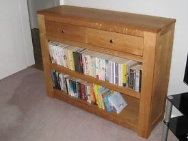 Bookcase with drawers in solid light oak
